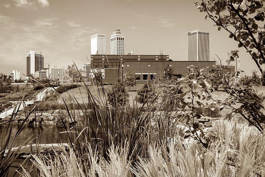 Framing The Tulsa Skyline - Sepia Photograph by Gregory Ballos