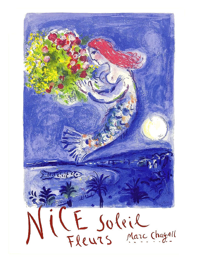 Nice Digital Art - France Nice Soleil Fleurs Vintage 1961 Travel Poster By Marc Chagall by Retro Graphics