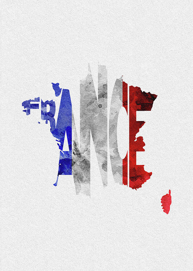 France Map Flag.France Typographic Map Flag Digital Art By Inspirowl Design