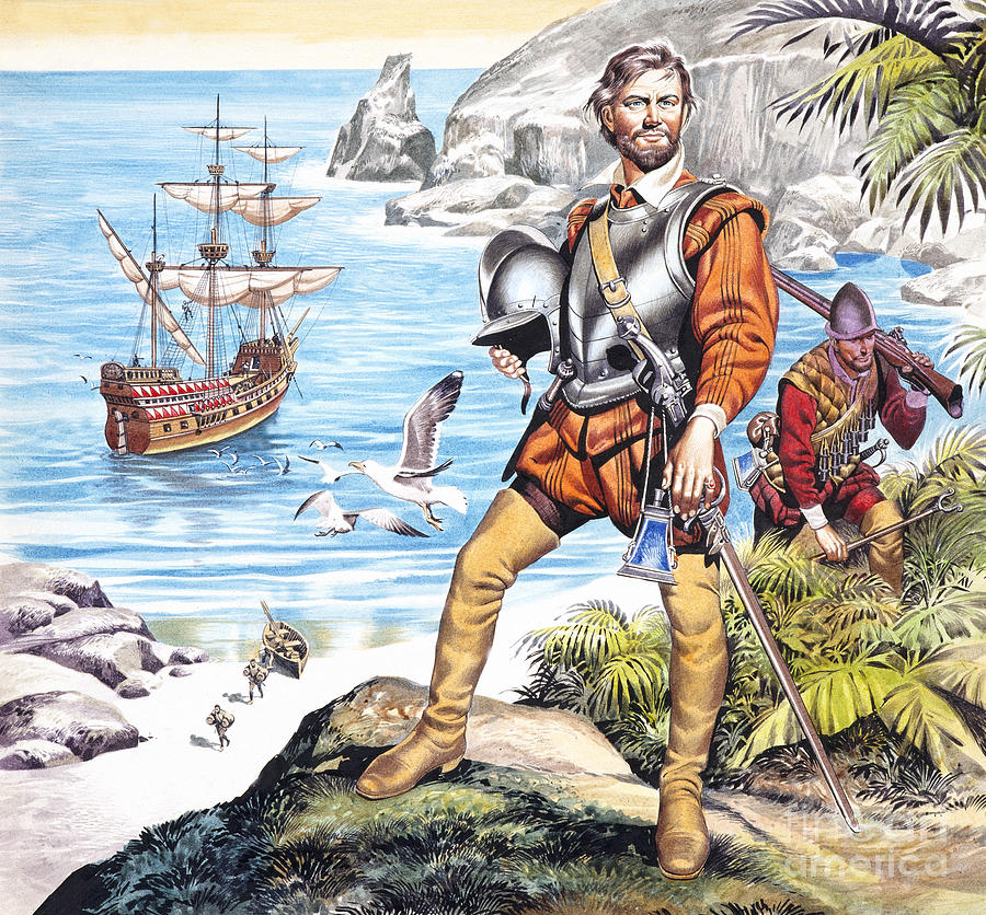 Francis Painting - Francis Drake And The Golden Hind by Ron Embleton