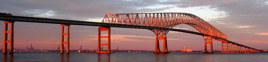 Francis Scott Key Photograph - Francis Scott Key Bridge At Sunset Baltimore Maryland by Wayne Higgs