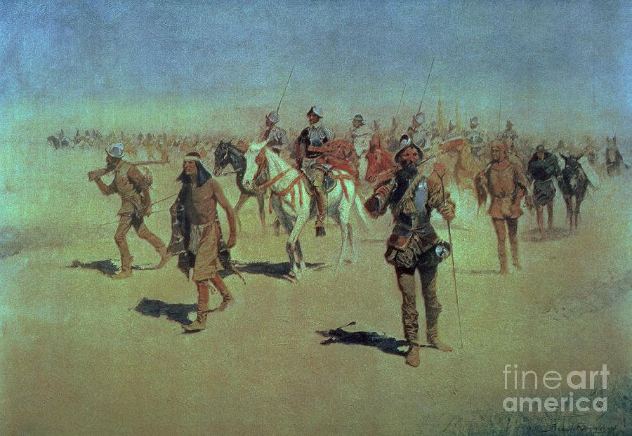 Francisco Painting - Francisco Vasquez De Coronado Making His Way Across New Mexico by Frederic Remington