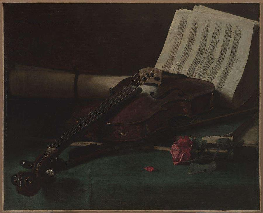 Francois Bonvin   Still Life With Violin  Sheet Music   And A Rose Painting