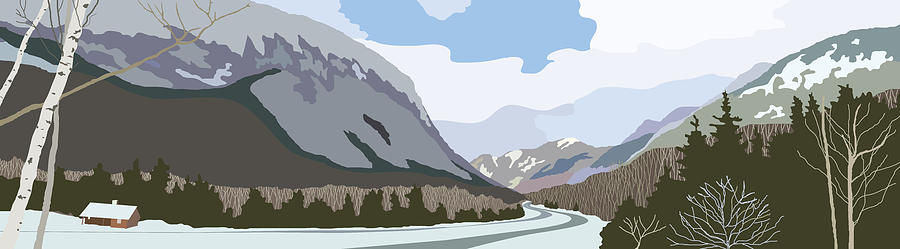 White Mountains Painting - Franconia Notch by Marian Federspiel