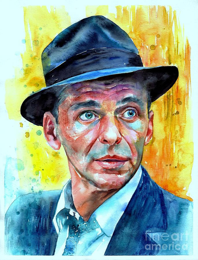 Frank Painting - Frank Sinatra In Blue Fedora by Suzann Sines