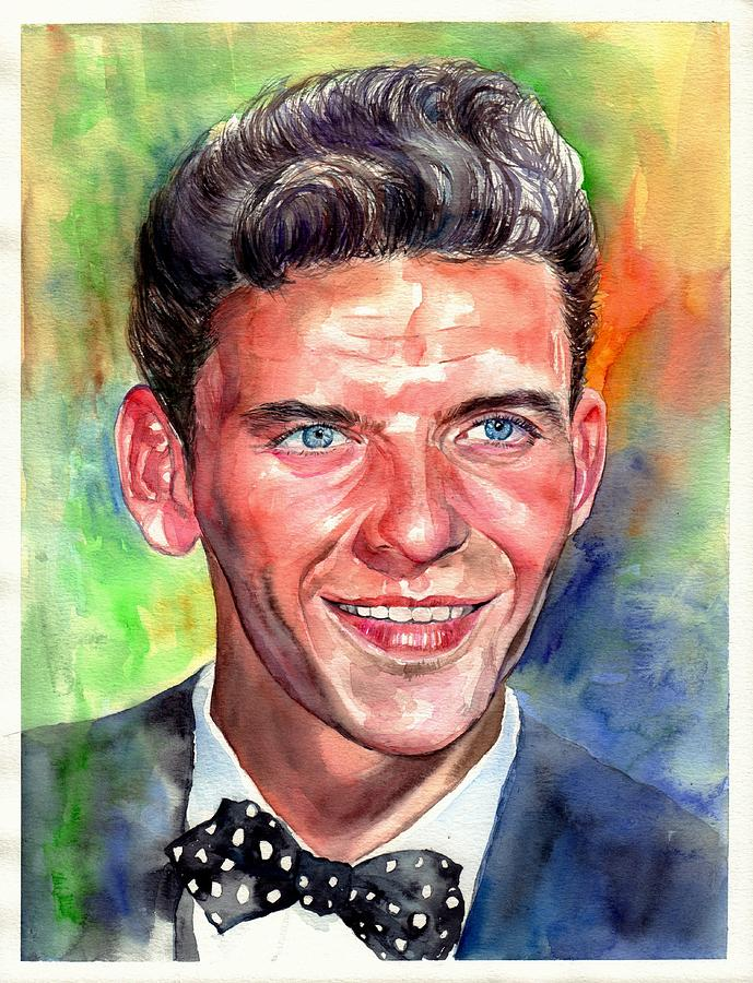 Frank Painting - Frank Sinatra Young Watercolor by Suzann Sines