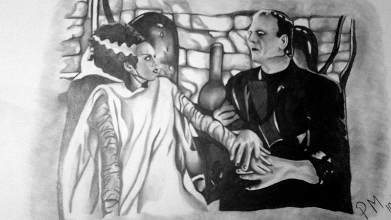 Frankenstein Drawing - Frankenstein And His Bride by Pauline Murphy