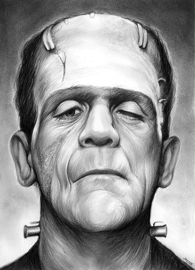Boris Karloff Drawing - Frankenstein by Greg Joens