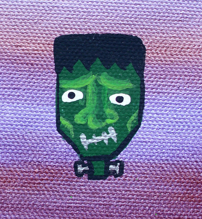 Frankenstein Classic Horror Monsters Dr Doctor Green Bolts On Neck Stitches Intense Scary Fun Purple Sheen Cartoon Toon Character Portrait Fun  Painting - Frankenstein by Jera Sky