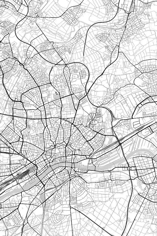 Frankfurt Germany Light Map Digital Art By Jurq Studio