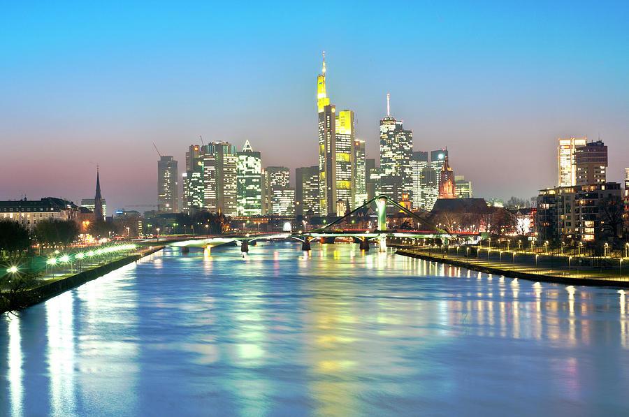 Horizontal Photograph - Frankfurt  Night Skyline by Ixefra