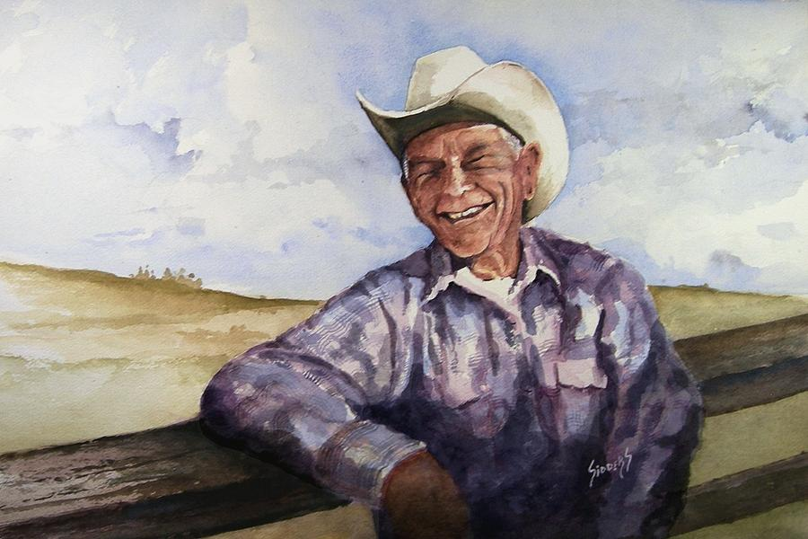Cowboy Smile Friendly Happy Texan Texas Music Fiddler Painting - Frankie by Sam Sidders