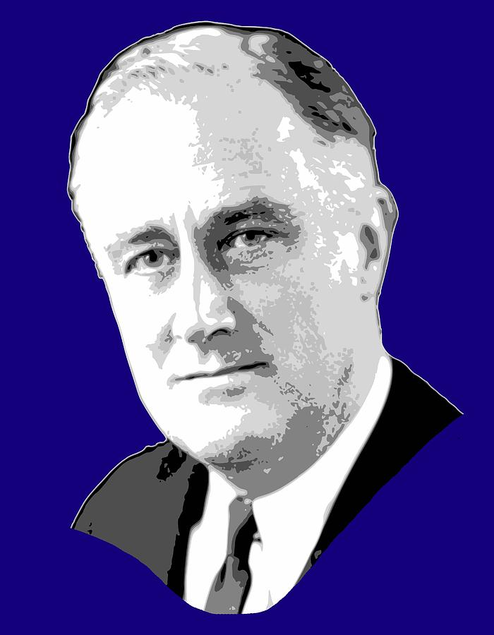Roosevelt Digital Art - Franklin D. Roosevelt Grayscale Pop Art by Filip Hellman