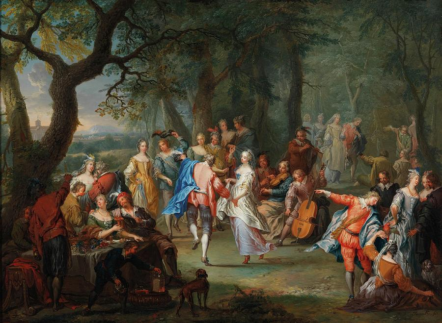 Girl Painting - Franz Christoph Janneck Graz 1703-1761 Vienna A Dance In The Palace Gardens, by Franz Christoph Janneck