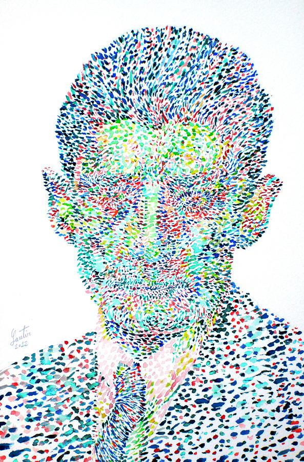 Franz Painting - Franz Kafka Watercolor Portrait.1 by Fabrizio Cassetta