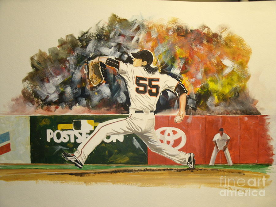 Sports Painting - Freaky Tim Lincecum by Phil  King