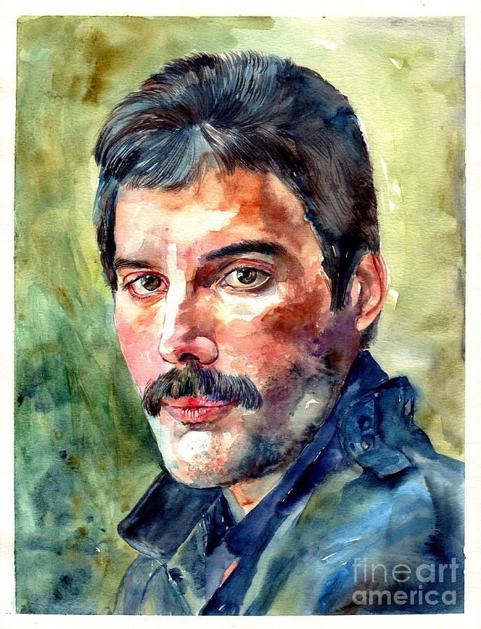 Freddie Painting - Freddie Mercury watercolor by Suzann Sines