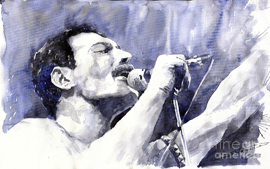 Watercolor Painting - Freddie Mercury by Yuriy Shevchuk