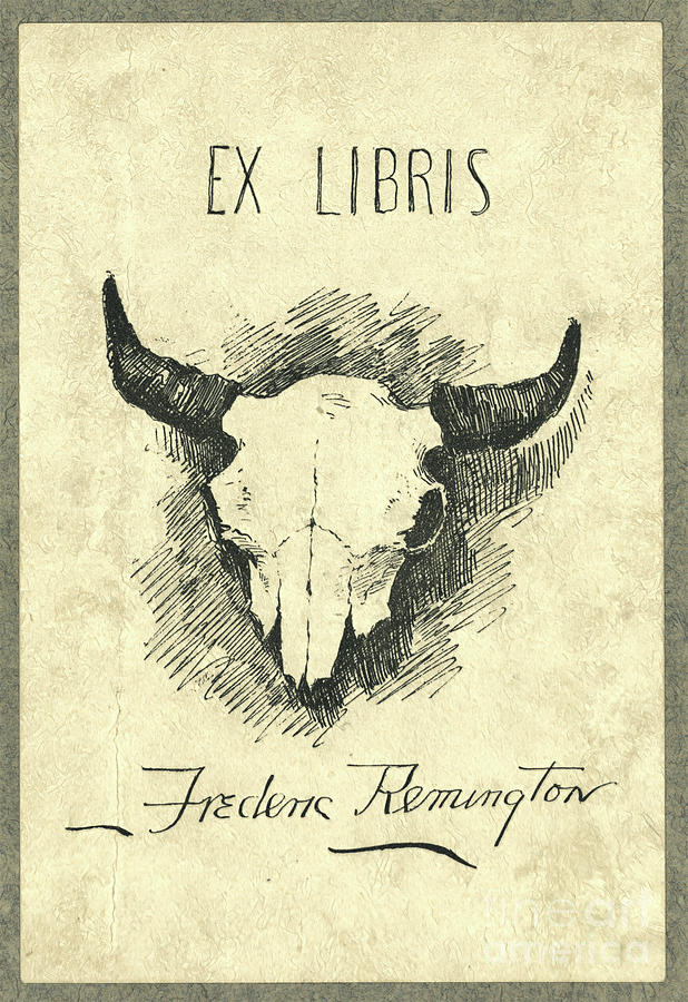 Frederic Remington Cow Skull Bookplate Photograph by John Stephens