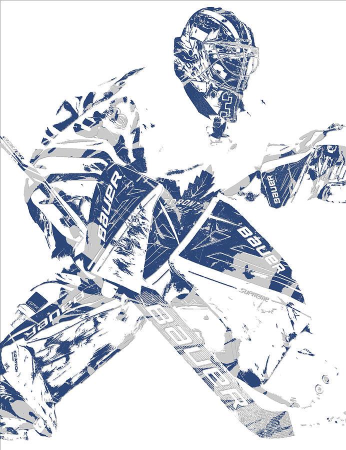 Frederik Andersen Toronto Maple Leafs Pixel Art 4 Mixed Media By Joe Hamilton