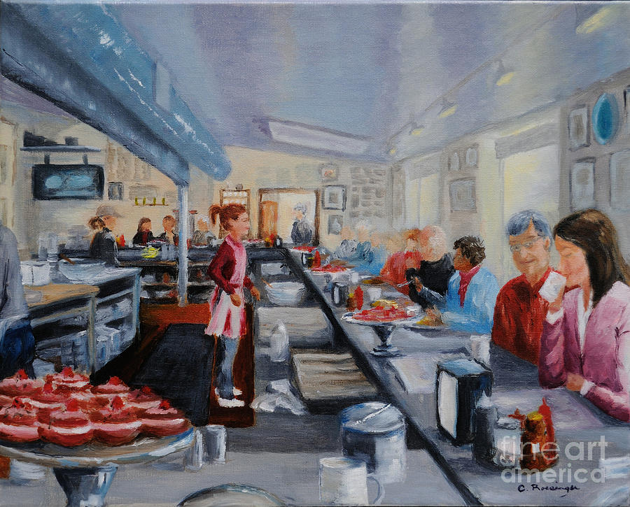 Waitress Painting - Freds Breakfast Of New Hope by Cindy Roesinger