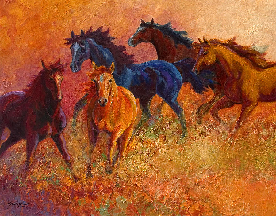 Horses Painting - Free Range - Wild Horses by Marion Rose