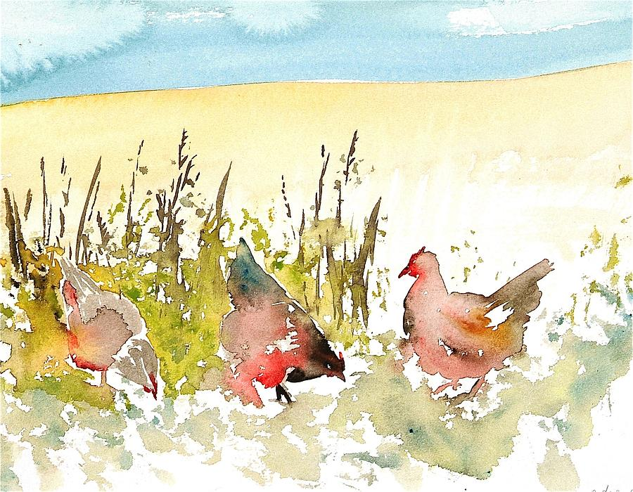 Chickens Painting - Free Range by Carolyn Doe
