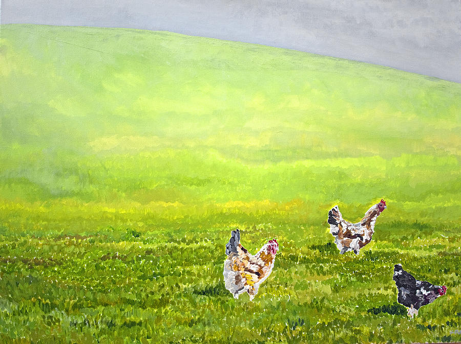 Chickens Painting - Free Range Chickens by Francis Robson