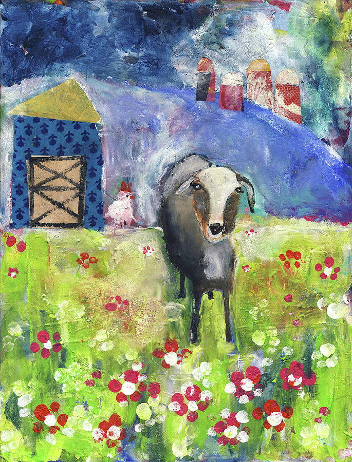 Goat Painting - Free Range Goat by Susie Lubell
