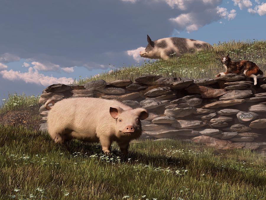 Pig Digital Art - Free Range Pigs by Daniel Eskridge