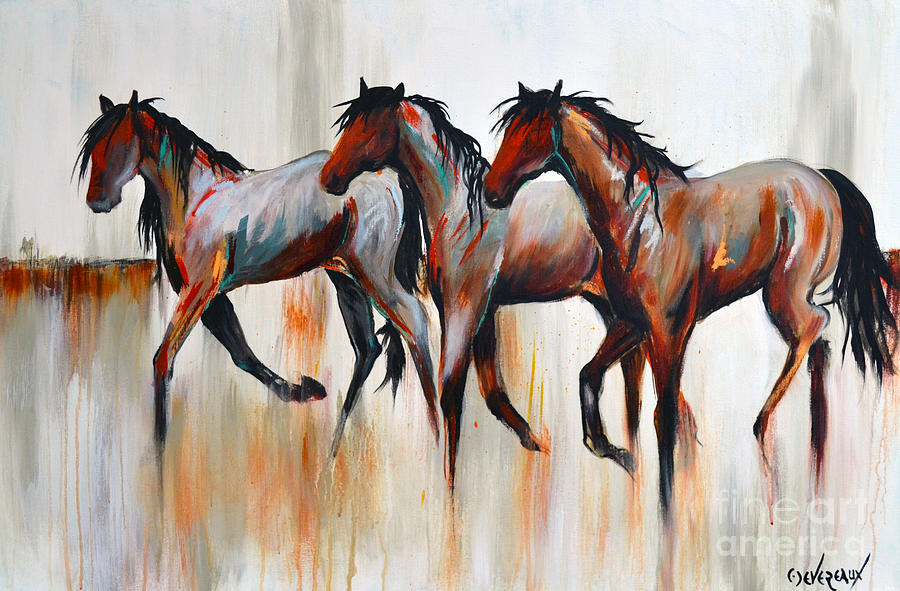 Horse Painting - Free Spirits by Cher Devereaux