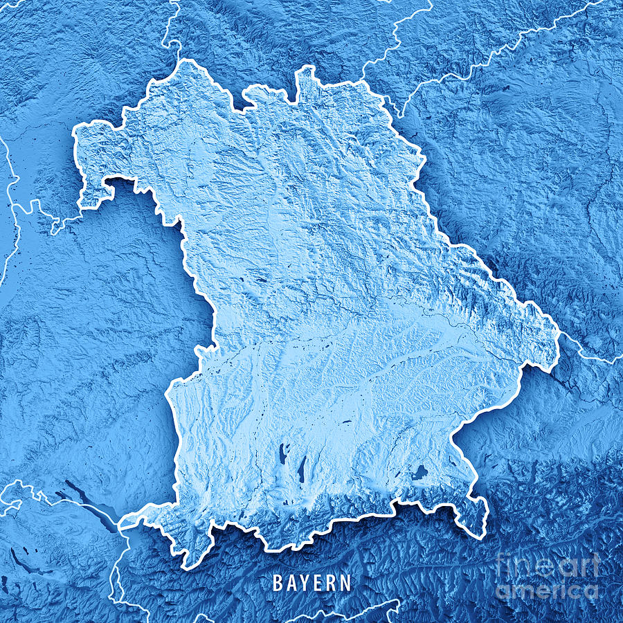Free State Of Bavaria Germany 3d Render Topographic Map Blue Bor ...