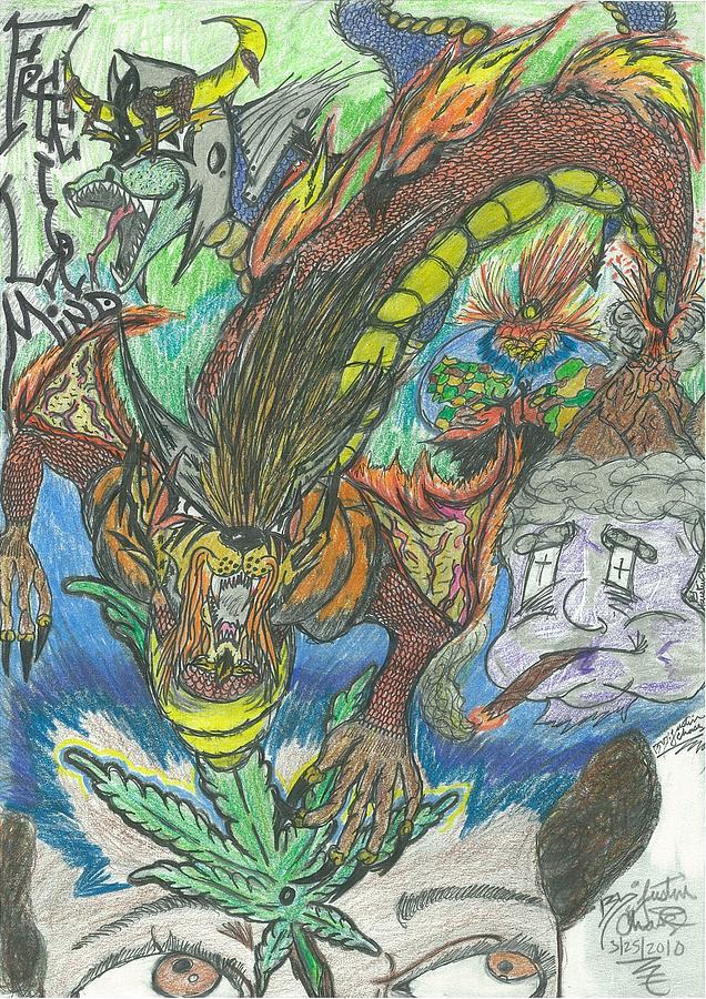 Marijuana Drawing - Free Ur Mind by Justin Chase
