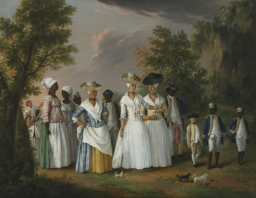 Italian Painters Painting - Free Women Of Color With Their Children And Servants In A Landscape by Agostino Brunias