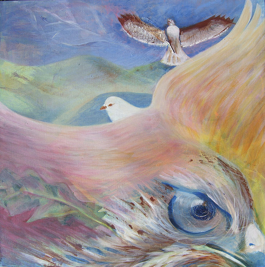 Bird Painting - Freedom And Fear by Claudia Dose