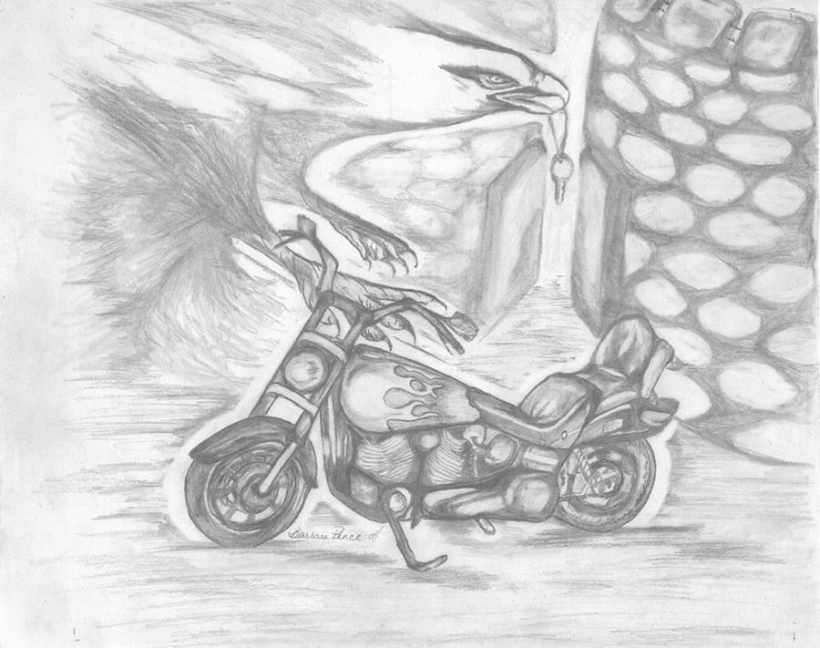 Harley Drawing - Freedom by Barbara Cleveland