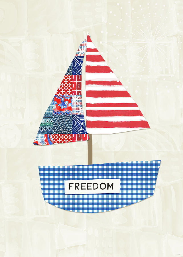 Red Mixed Media - Freedom Boat- Art by Linda Woods by Linda Woods