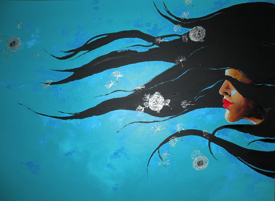Blue Painting - Freedom by Chandana Paravastu