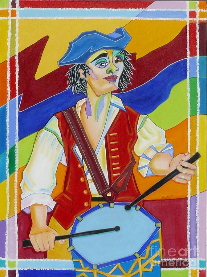 Acrylic Paintings Painting - Freedom Drummer by Loretta Orr