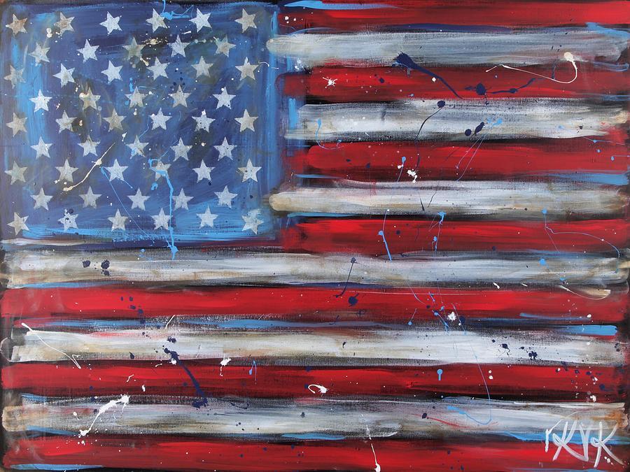 Flag Painting - Freedom by Katia Von Kral