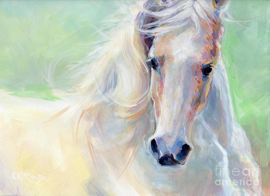White Horse Painting - Freedom by Kimberly Santini