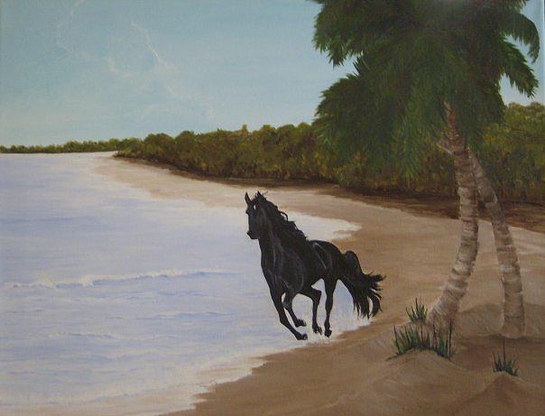 Beach Painting - Freedom by Linda Bennett