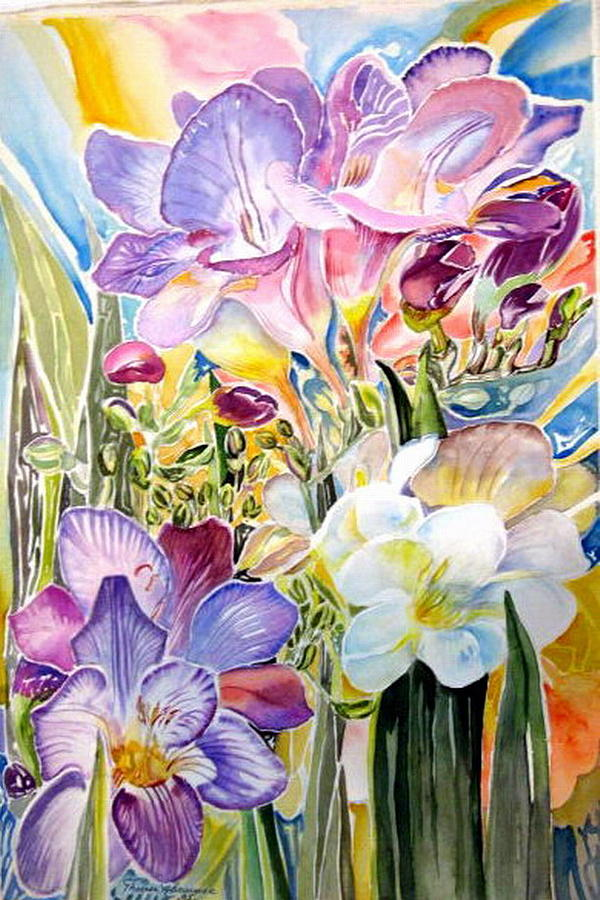 Freesia Flower Painting - Freesias  by Therese AbouNader