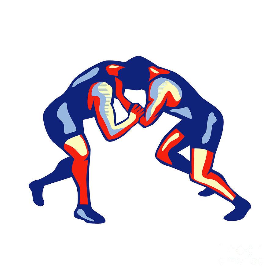 Wrestling Digital Art - Freestyle Wrestling Retro by Aloysius Patrimonio