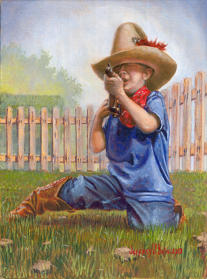 Cowboy Painting - Freeze Buckaroo by Jeff Brimley