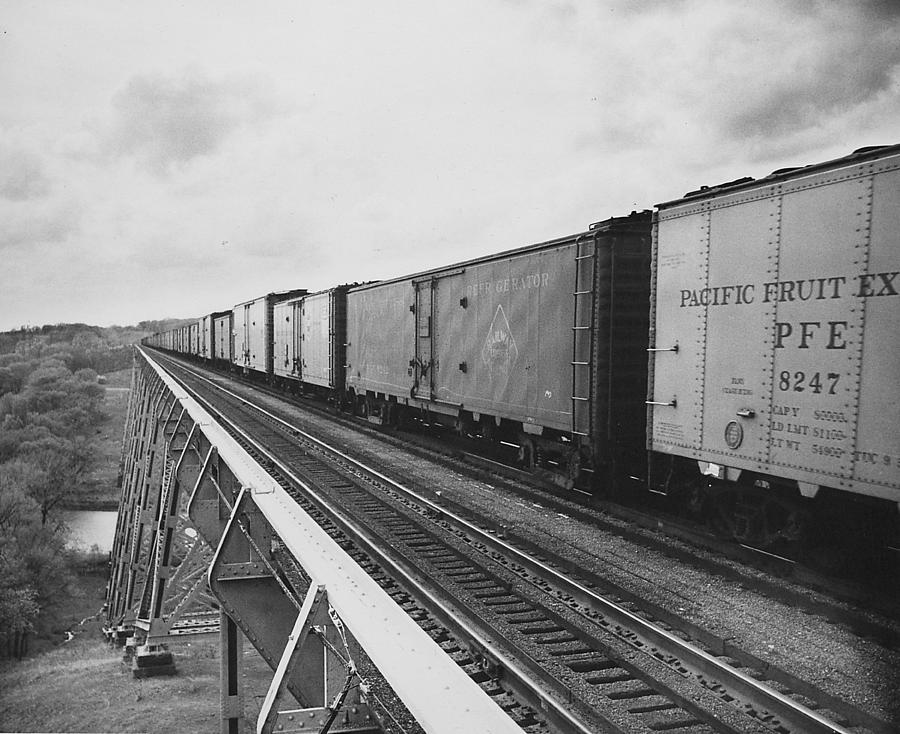 Boone Photograph - Freight Train Crosses High Bridge - 1959  by Chicago and North Western Historical Society