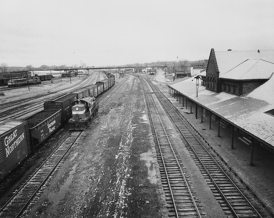 Train Yard Photograph - Freight Train in Marshalltown - 1961 by Chicago and North Western Historical Society