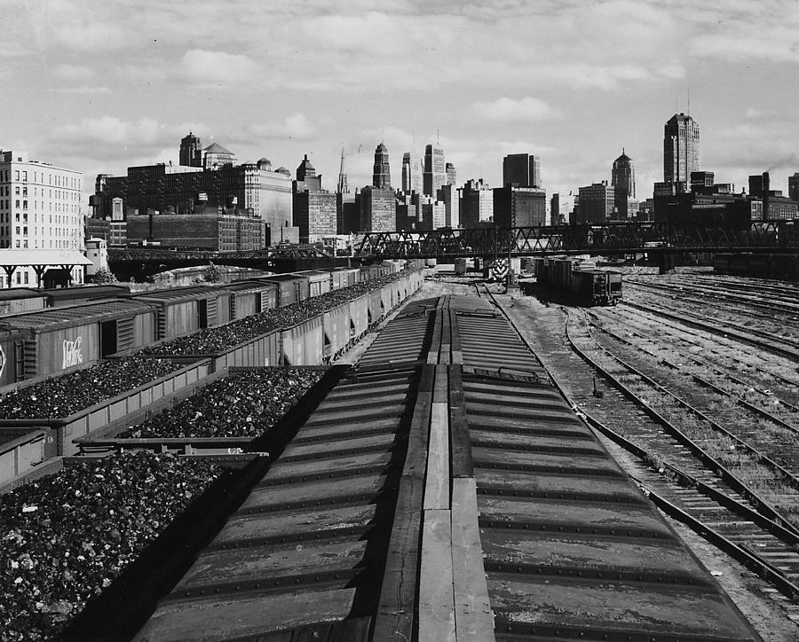 Chicago Photograph - Freight Train Headed Away From Navy Pier by Chicago and North Western Historical Society