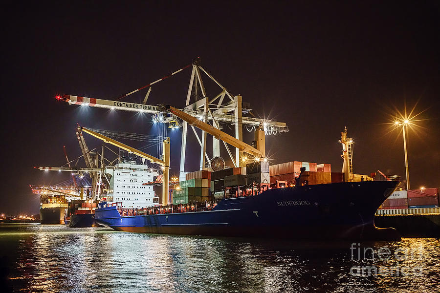 Freighter At Night Photograph