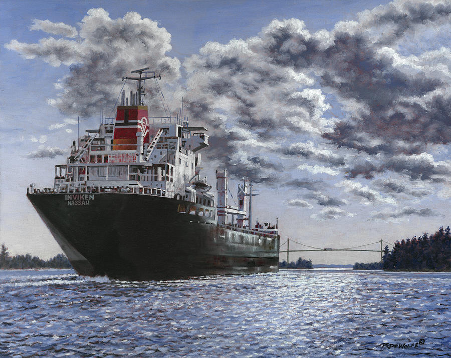 Freighter Painting - Freighter Inviken by Richard De Wolfe